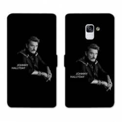 RV Housse cuir portefeuille Samsung Galaxy S9 Johnny Hallyday Noir