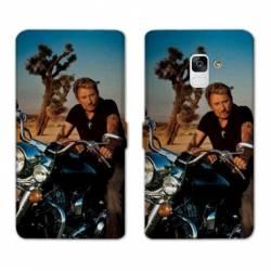 RV Housse cuir portefeuille Samsung Galaxy S9 Johnny Hallyday Moto