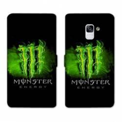 RV Housse cuir portefeuille Samsung Galaxy S9 Monster Energy Vert