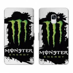RV Housse cuir portefeuille Samsung Galaxy S9 Monster Energy tache
