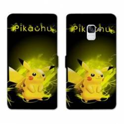 RV Housse cuir portefeuille Samsung Galaxy S9 Pokemon Pikachu eclair