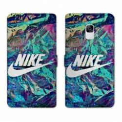 RV Housse cuir portefeuille Samsung Galaxy S9 Nike Turquoise