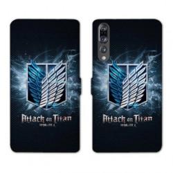 RV Housse cuir portefeuille Huawei P30 PRO Manga Attaque titans noir