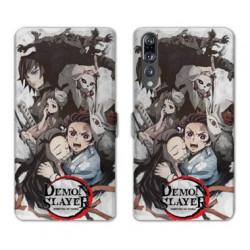 RV Housse cuir portefeuille Huawei P30 PRO Manga Demon Slayer Blanc