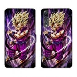 RV Housse cuir portefeuille Huawei P30 PRO Manga Dragon Ball Sangohan violet