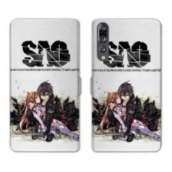 RV Housse cuir portefeuille Huawei P30 PRO Manga SAO sword Art Online blanc