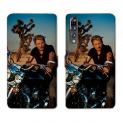 RV Housse cuir portefeuille Huawei P30 PRO Johnny Hallyday Moto
