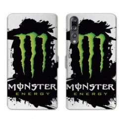 RV Housse cuir portefeuille Huawei P30 PRO Monster Energy tache
