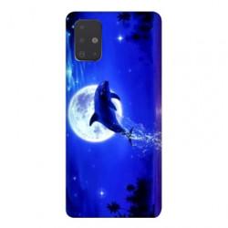 Coque pour Samsung Galaxy A51 Dauphin lune