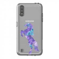 Coque transparente pour Samsung Galaxy A01 Cheval Encre