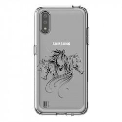 Coque transparente pour Samsung Galaxy A01 chevaux