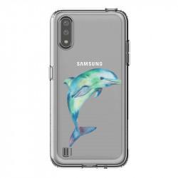 Coque transparente pour Samsung Galaxy A01 Dauphin Encre