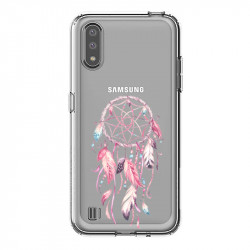 Coque transparente pour Samsung Galaxy A01 feminine attrape reve rose