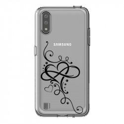 Coque transparente pour Samsung Galaxy A01 feminine c?ur infini
