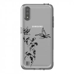 Coque transparente pour Samsung Galaxy A01 feminine envol fleur