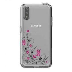 Coque transparente pour Samsung Galaxy A01 feminine fleur papillon