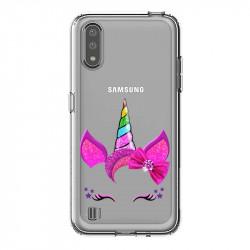 Coque transparente pour Samsung Galaxy A01 Licorne paillette