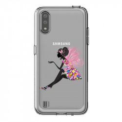 Coque transparente pour Samsung Galaxy A01 magique fee fleurie