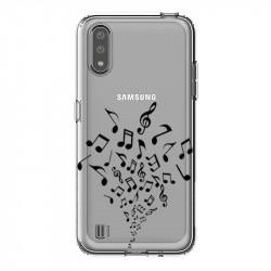 Coque transparente pour Samsung Galaxy A01 note musique