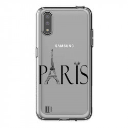 Coque transparente pour Samsung Galaxy A01 Paris noir