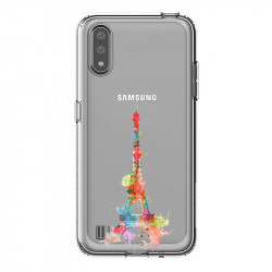 Coque transparente pour Samsung Galaxy A01 Tour eiffel colore