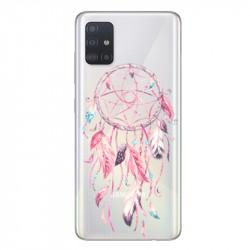 Coque transparente pour Samsung Galaxy A71 feminine attrape reve rose
