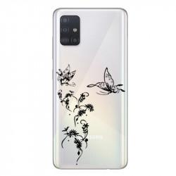 Coque transparente pour Samsung Galaxy A71 feminine envol fleur