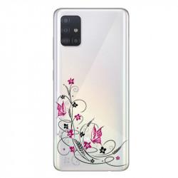 Coque transparente pour Samsung Galaxy A71 feminine fleur papillon