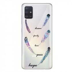 Coque transparente pour Samsung Galaxy A71 feminine plume couleur