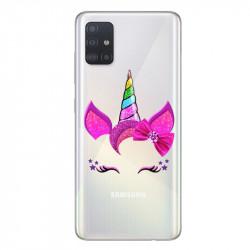 Coque transparente pour Samsung Galaxy A71 Licorne paillette