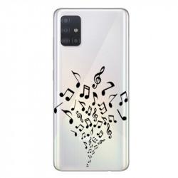 Coque transparente pour Samsung Galaxy A71 note musique