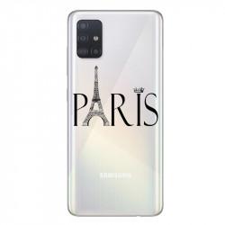 Coque transparente pour Samsung Galaxy A71 Paris noir
