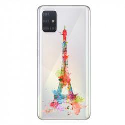 Coque transparente pour Samsung Galaxy A71 Tour eiffel colore