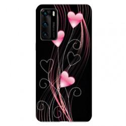 Coque pour Huawei P40 Cœur rose Montant