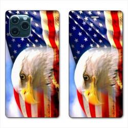RV Housse cuir portefeuille pour Samsung Galaxy S20 Amerique USA Aigle