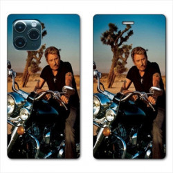 RV Housse cuir portefeuille pour Samsung Galaxy S20 Johnny Hallyday Moto