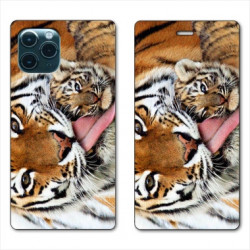 RV Housse cuir portefeuille pour Samsung Galaxy S20 Ultra bebe tigre