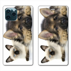 RV Housse cuir portefeuille pour Samsung Galaxy S20 Ultra Chien vs chat