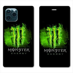 RV Housse cuir portefeuille pour Samsung Galaxy S20 Ultra Monster Energy Vert