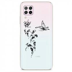Coque transparente pour Huawei P40 Lite feminine envol fleur