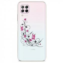 Coque transparente pour Huawei P40 Lite feminine fleur papillon
