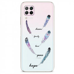 Coque transparente pour Huawei P40 Lite feminine plume couleur