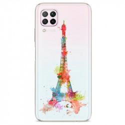 Coque transparente pour Huawei P40 Lite Tour eiffel colore
