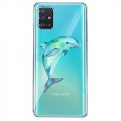 Coque transparente pour Samsung Galaxy S20 Dauphin Encre