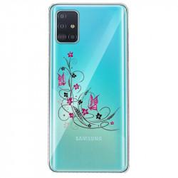 Coque transparente pour Samsung Galaxy S20 feminine fleur papillon