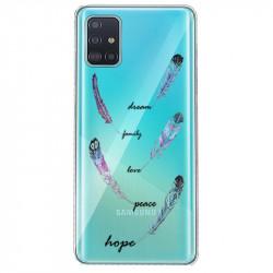 Coque transparente pour Samsung Galaxy S20 feminine plume couleur