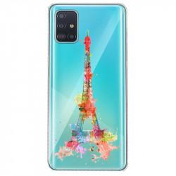Coque transparente pour Huawei P40 Tour eiffel colore