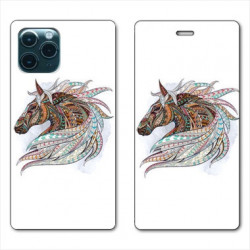 RV Housse cuir portefeuille pour Samsung Galaxy A51 Ethniques Cheval Color B