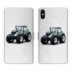 RV Housse cuir portefeuille pour Samsung Galaxy A01 Agriculture Tracteur Blanc