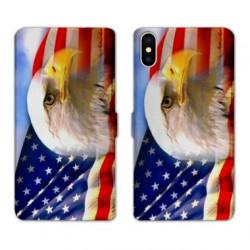 RV Housse cuir portefeuille pour Samsung Galaxy A01 Amerique USA Aigle